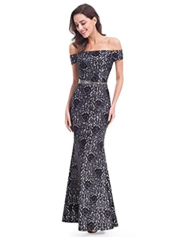 Ever Pretty Womens Off Shoulder Lace Formal Holiday Party Dress 16 US Black - Holiday Stretch Lace Dress