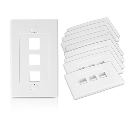 Cable Matters 10-Pack 3 Port Keystone Wall Plate  in White