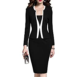 MUSHARE Women's Colorblock Wear to Work Business Party Bodycon One-piece Dress (Small, Black)
