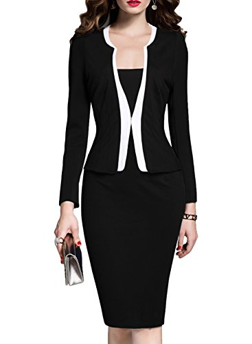 Black Dress Suit (MUSHARE Women's Colorblock Wear to Work Business Party Bodycon One-Piece Dress (Large, Black))
