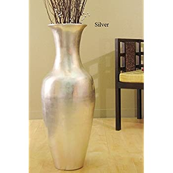 Green Floral Crafts 36 in. Classic Bamboo Large Floor Vase - Silver
