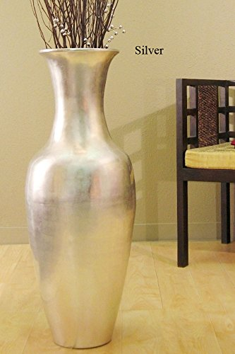 Greenfloralcrafts 36 In Classic Bamboo Large Floor Vase Silver