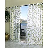 1pc 84 Outdoor Green Color Leaf Sheer Gazebo Curtain, Patio Porch Deck Entrance Door Grommet Doorway Pergola Drapes, Light Green Outside Window Treatment Single Panel, Cabana Polyester