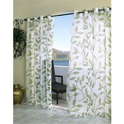 1pc 96 Outdoor Green Color Leaf Sheer Gazebo Curtain, Patio Porch Deck Entrance Door Grommet Doorway Pergola Drapes, Light Green Outside Window Treatment Single Panel, Cabana Polyester by Nil