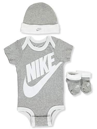 (NIKE Children's Apparel Baby Hat, Bodysuit and Bootie Three Piece Set, Grey Sportswear 0/6M)