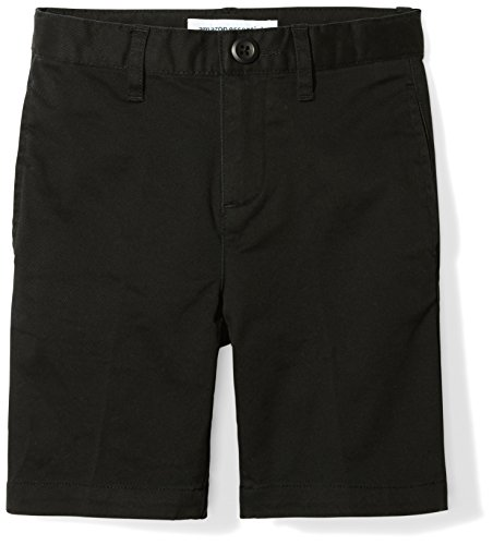 Amazon Essentials Toddler Boys' Flat Front Uniform Chino Short, Black, - Black Dress Boys