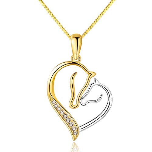 Gold Horse Heart - MORANY 925 Sterling Silver Horses Head Heart Pendants Necklace Women's Jewelry (18K Gold Plating), 18 inch / 45 cm