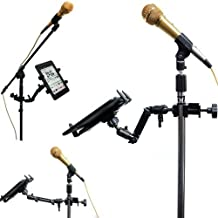 "ChargerCity Heavy Duty 4-Way Multi Joint Adjust Aluminum Alloy Pole/Bar Music Mic Microphone Stand Clamp Mount for Apple iPad Pro Air Mini Samsung Galaxy Microsoft Surface Pro/Book 7-12"" tablets"