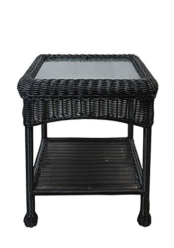 LB International 22″ Black Resin Wicker Outdoor Patio Side Table with Glass Top and Storage Shelf For Sale