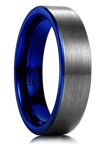 Comfort Fit Brushed Wedding Band (King Will DUO Women Men 6mm Flat Blue Tungsten Carbide Ring Matte Brushed Wedding Band Comfort Fit(7.5))