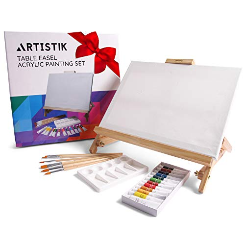 Set Wide Workstation (Artistik Easel Acrylic Set Table Top Desk Easel - Adjustable Desktop Table Easel Craft Workstation, Craft Art Painting Holder Display)