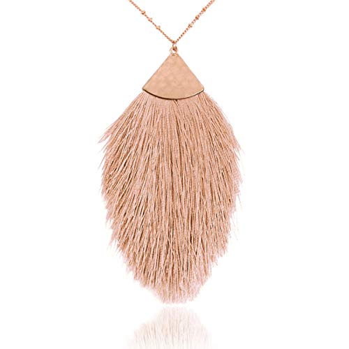 - RIAH FASHION Bohemian Fringe Tassel Pendant Statement Necklace - Silky Strand Semi Circle Fan Charm, Teardrop Thread, Freshwater Pearl Charm Long Chain (Petal Tassel - Natural)