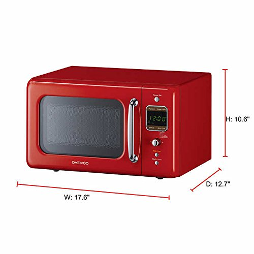 Daewoo Retro Microwave Oven, 0.7 cu. ft., 700W KOR-7LRE (Red)