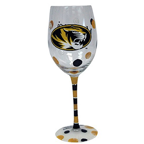 Jenkins Enterprises Missouri Tigers Black and Gold Hand Painted Wine Glass