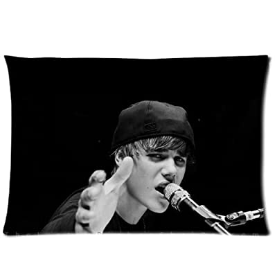 ARTSWOW 50% Polyester?50% Cotton Justin Bieber Pillowcase with Zipper Rectangle Pillow Case Cover Standard Size Two Sides 20X26