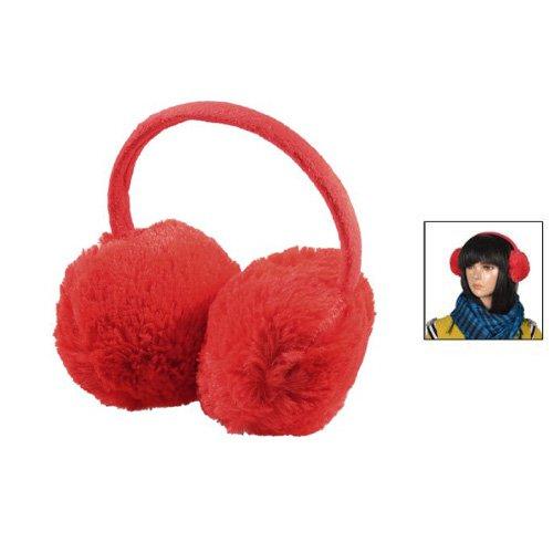 Gleader Kopfbedeckung Red Fluffy Pluesch-Ear Covers Winter-Gehoerschuetzer fuer Frauen