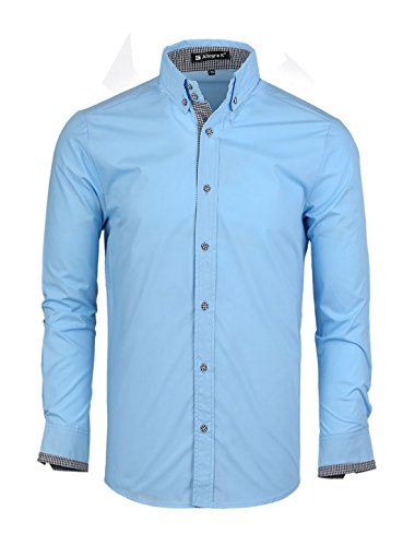 Allegra K Men Button Closure Point Collar Long Sleeve Plaids Detail Shirts Large Sky Blue