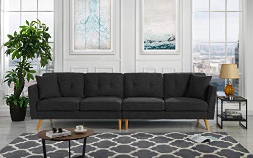 (Upholstered Large Fabric Sofa, 114.9