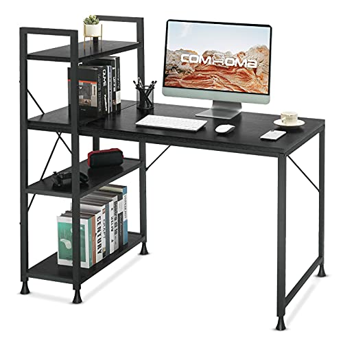 Comhoma Computer Desk with Storage Shelves 47 Inch Home Office Desk with Reversible Bookshelf Study Writing Table Corner Desk for Small Space Easy Assemble, Black