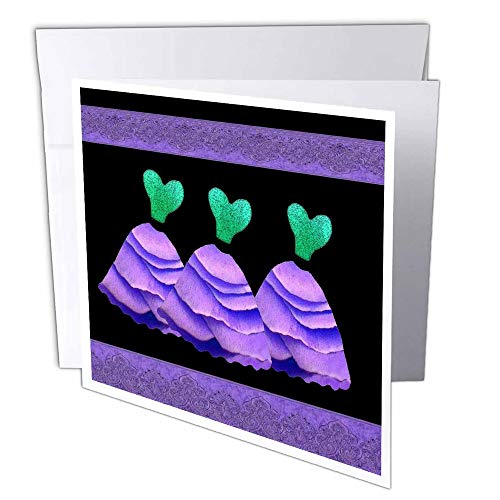 3dRose Three frilly purple and green dresses with coordinating ribbons - Greeting Cards, 6 x 6 inches, set of 12 (gc_30156_2)