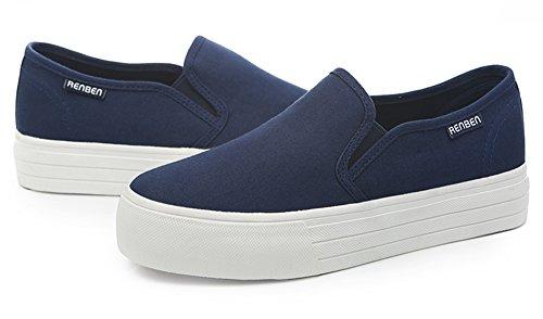 Aisun Donna Popolare Punta Rotonda Suola Spessa Scivolare Su Scarpe Sneakers Piattaforma Piatta Mocassini Blu