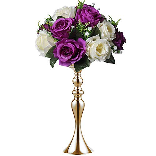 (Sziqiqi 3 Colors 7 Sizes Height Metal Candle Holder Candle Stand Wedding Centerpiece Event Road Lead Flower Rack (38CM, Gold))