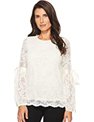 Vince Camuto Womens Tie Cuff Bubble Sleeve Floral Lace Top