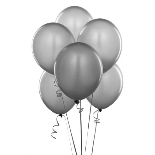 Grey Latex Balloons (Homeford Premium Latex Balloons Plain Color, 12-Inch, Silver,)