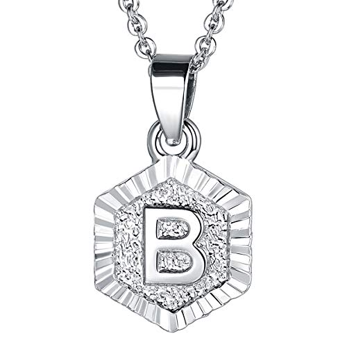 (FOCALOOK Monogram Necklace A-Z 26 Letters Pendants Platinum Plated Hexagon Script Initial Jewelry with Stainless Steel 20 Inch Chain, Capital Alphabet Necklaces for Women Girls (Letter)