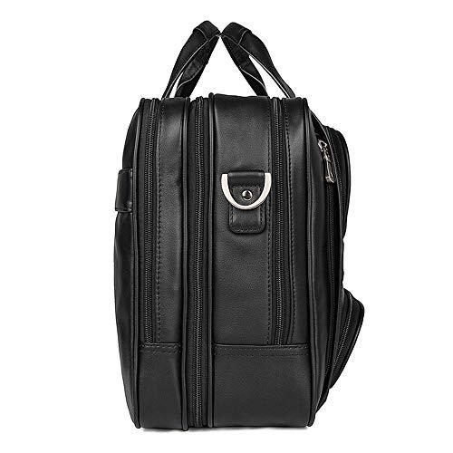Hombres Para 17 Cuero Bolso Bag Negocios Bandolera De sheng Maletín Black Computadora Portátil Grande Ju Pulgadas w74InqHX4