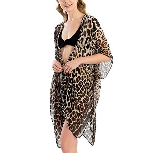 (Me Plus Women Fashion Summer Beach Animal Print Cover Up Shawl Wrap Kimono (Animal Print - Black))