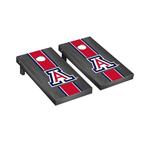 Victory Tailgate Regulation Collegiate NCAA Onyx Stained Stripe Series Cornhole Board Set - 2 Boards, 8 Bags - Arizona Wildcats