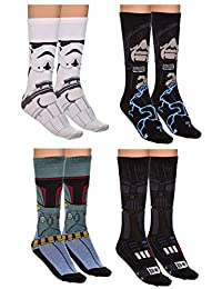 Star Wars Dark Side Unisex 4 Pack Jacquard Knit Crew Socks Gift Set