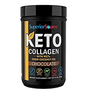 Superior Source Keto Collagen Protein Powder Chocolate - Grass Fed Collagen Peptides with MCT Oil, Gluten Free, Paleo Friendly