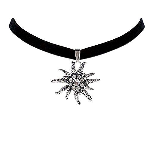 Czech Jewelry - Bodai Black Velvet Choker Necklace with 4cm Czech Edelweiss Flower