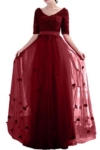 A Milano Ausschnitt Bride Damen Band Tuell Weinrot Lang V Applikation Promkleid Spitze Abendkleid Linie wIIxqPrSd