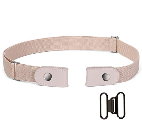 (Buckle-free Elastic Belt for Women Men, No Buckle Stretch Elastic Belt for Jeans Pants, Beige )