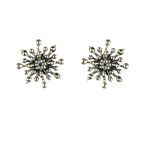 Esse Marcasite Sterling Silver Marcasite Heart Scroll Stud Earrings NEW