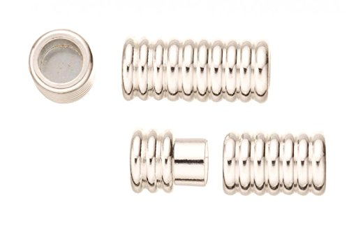 (2Pcs Swirl Tube Shape Magnetic Jewelry Clasps Glue-In Ends - Silver Plated Copper 9x20mm)