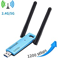Slicemall USB Wifi Adapter 1200Mbps Wireless Adapter Network Long Range High-gain Antenna Dual Band USB3.0 Wifi for Desktop/PC (5GHz 866Mbps + 2.4GHz 300Mbps)Supports Windows XP/7/8/10/Mac/Linux...
