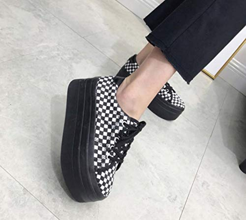 Womens White Shoes Thick Round DANDANJIE Shoes Retro Black Toe Shoes Plaid Black Casual And Soles XwfqdU