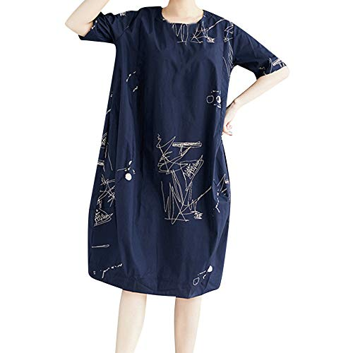 ANJUNIE Plus <br><br>Asian Size Shirt Skirt,Women Printing Short Sleeve Cotton Loose Bohe Casual Dress with Pocket (Navy,XXL)