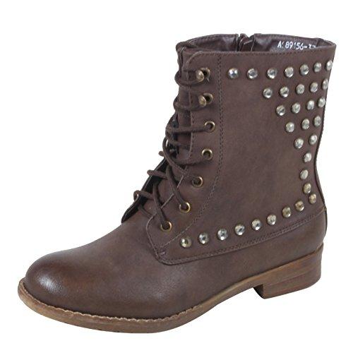 Myra - schicke Damen Schnür Boots Halbschaft Stiefeletten mit Nieten, Steine und Blockabsatz 36 37 38 39 40 41 36