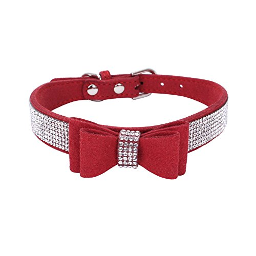 Mecar Rhinestone Leather Dog & Cat Collar-Sparkly Crystal Diamonds Studded for Small Medium Large Dogs,Red