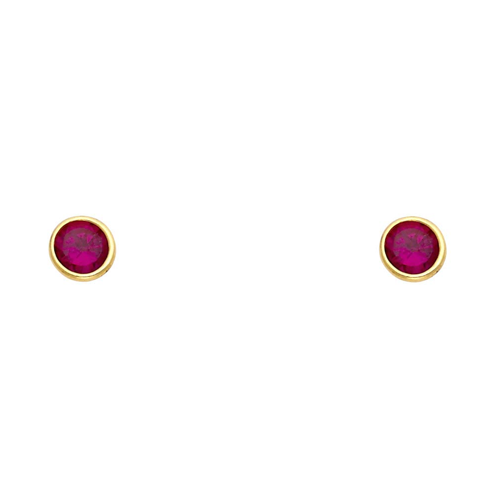 Ioka 14K Yellow Gold Red OR White Birthstone Round Cut Cubic Zirconia CZ Stud Screw Back Earrings 5mm