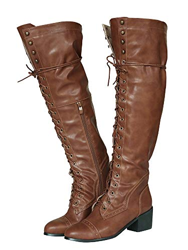 Syktkmx Womens Lace Up Cuff Knee High Motorcycle Riding Military Chunky Heel Brogue Boots