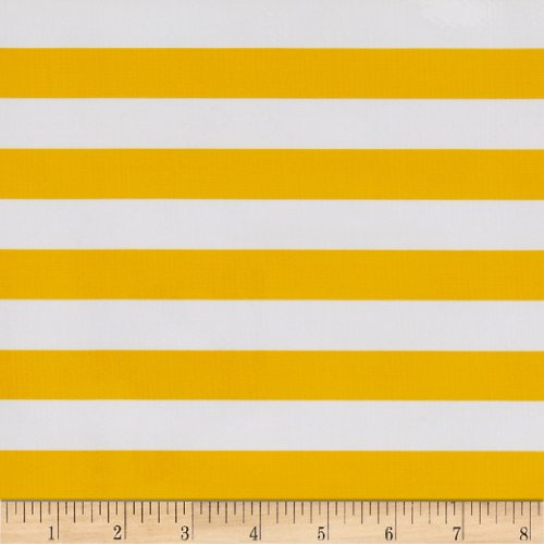 Oilcloth Stripes Yellow Fabric By The Yard