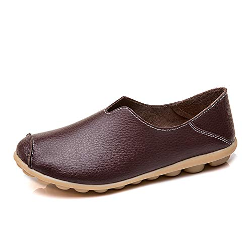 labato Women's Leather Loafers Casual Comfy Slip on Shoes Driving Mocassins Shoes Flat Loafers(9.5 M US,Brown)
