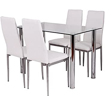 Amazoncom  Mecor Glass Dining Table Set 5 Piece Kitchen