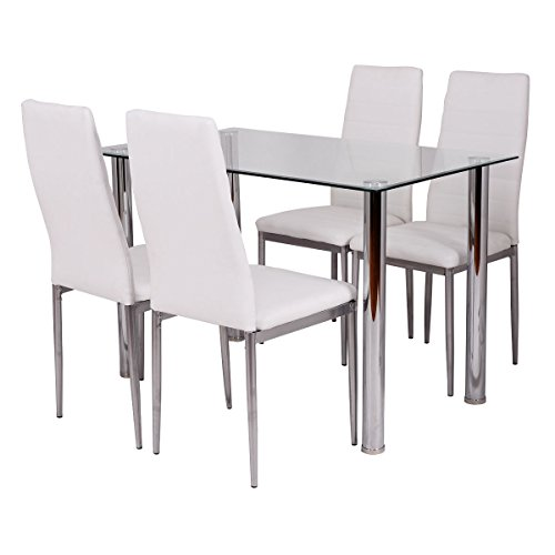 Tangkula 5 PCS Dining Table Set Glass Table and Metal Chairs Home Dinette Furniture by Tangkula